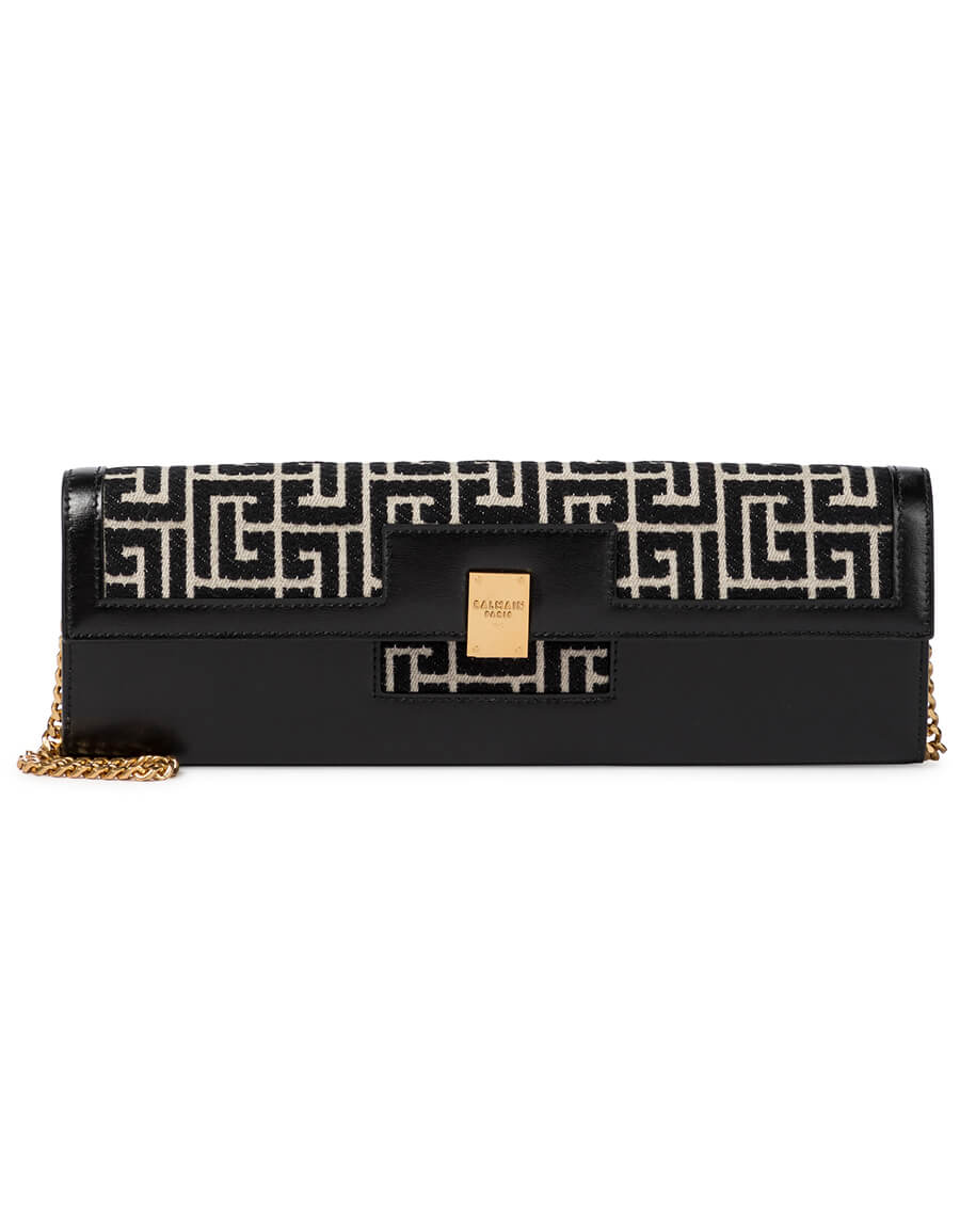 BALMAIN 1945 Large jacquard and leather clutch
