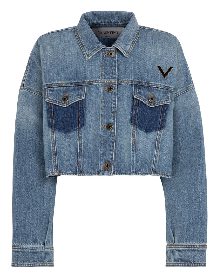 VALENTINO Valentino VGOLD cropped denim jacket