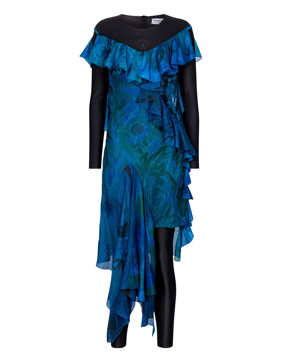 MARINE SERRE Exclusive to Mytheresa – Printed silk and stretch jersey dress