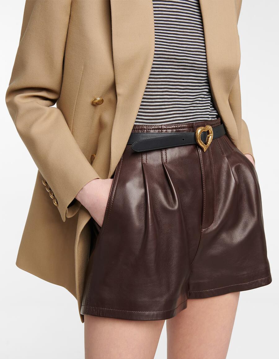 SAINT LAURENT Heart leather belt