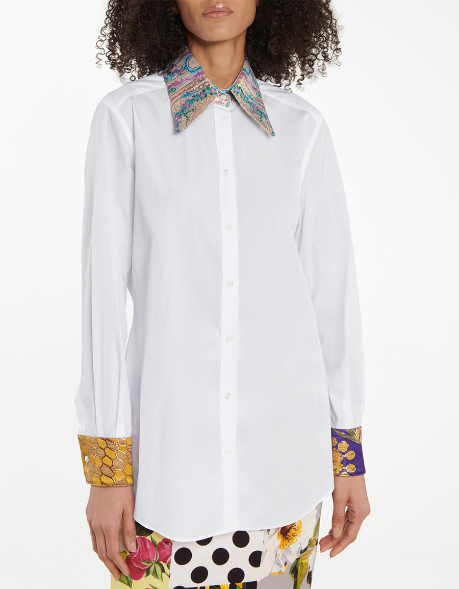 DOLCE & GABBANA Brocade trimmed cotton blend shirt