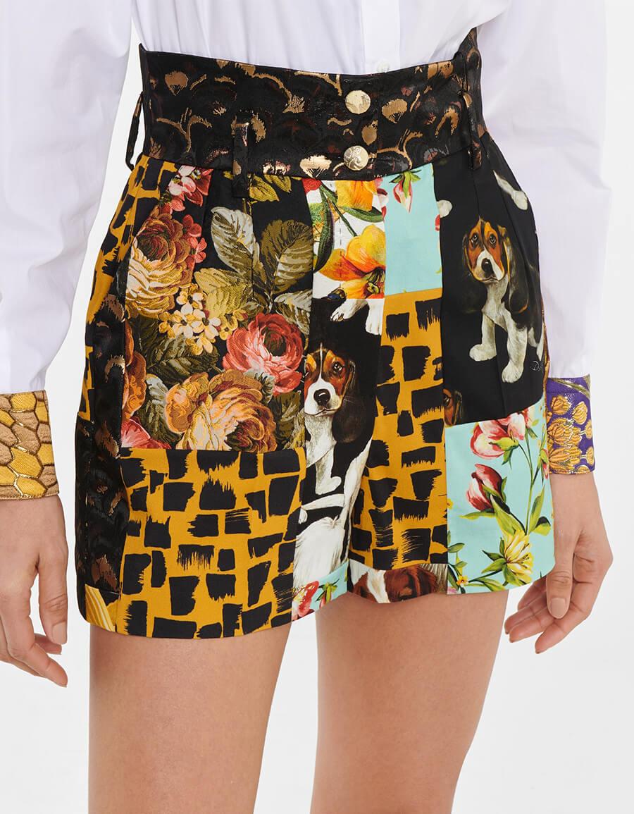 DOLCE & GABBANA High rise patchwork jacquard shorts