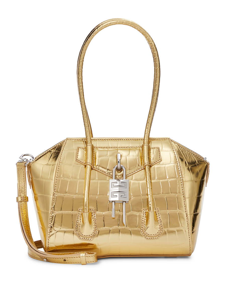 GIVENCHY Antigona Lock Mini croc effect leather tote