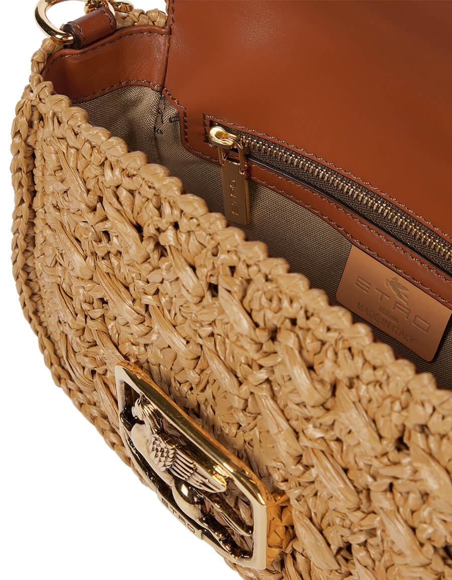 ETRO Pegaso Small raffia crossbody bag