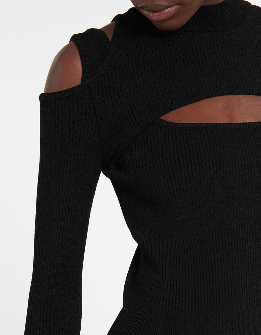 BALMAIN Cutout ribbed knit minidress