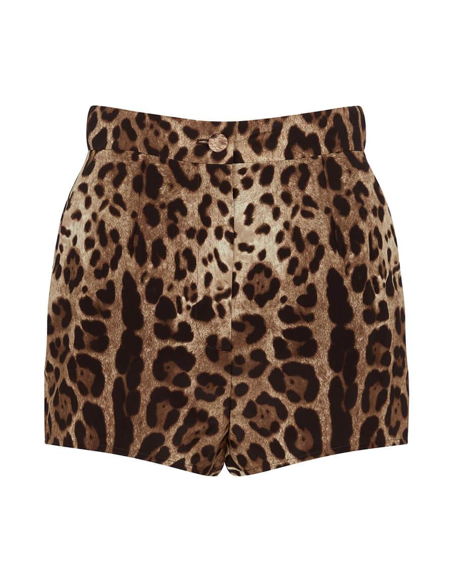 DOLCE & GABBANA Leopard print silk shorts