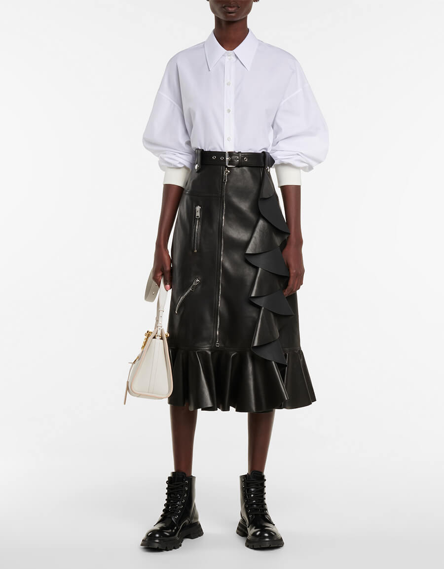 ALEXANDER MCQUEEN High rise leather midi skirt