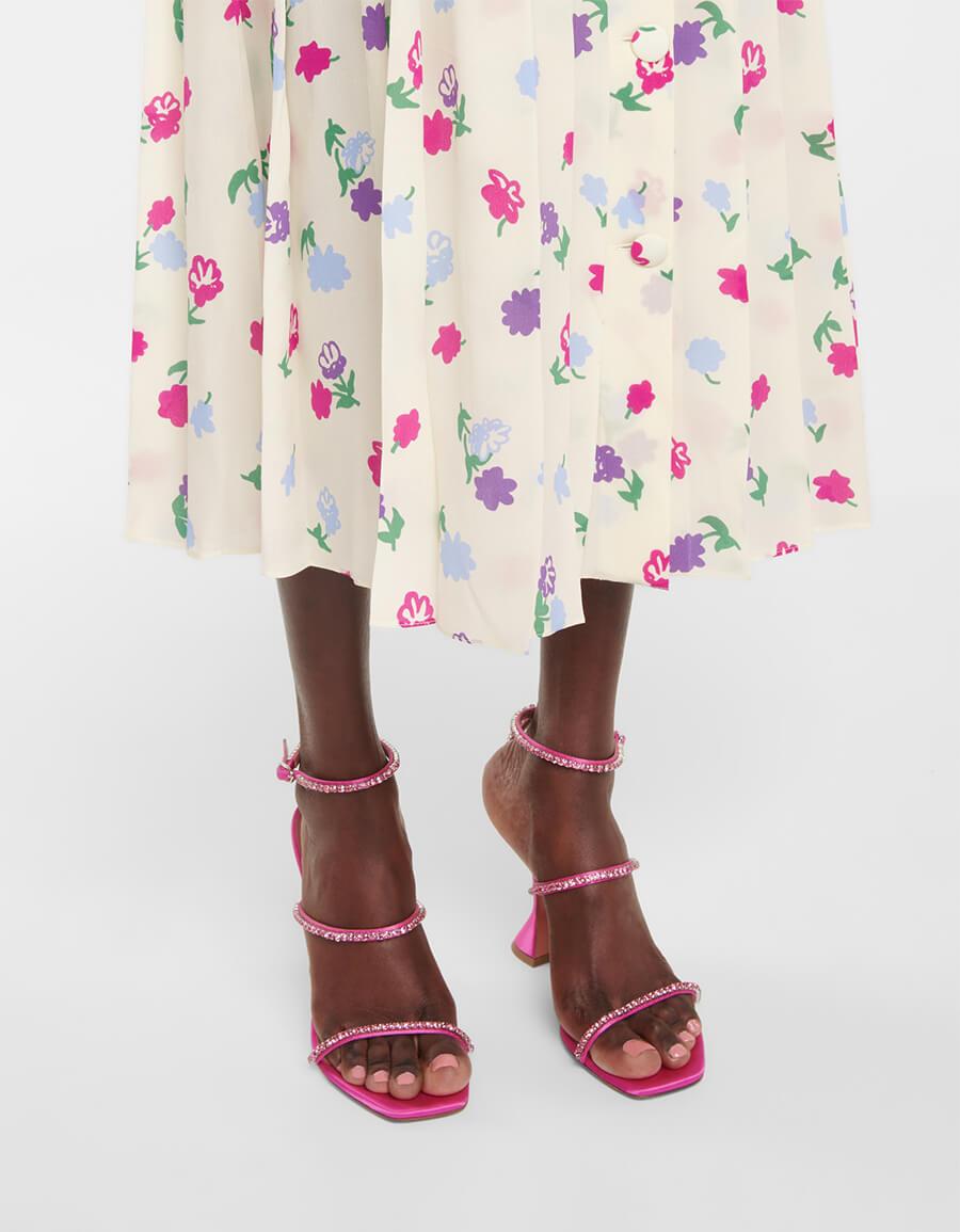 ALESSANDRA RICH Floral pleated midi dress