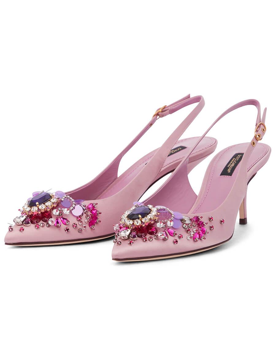 DOLCE & GABBANA Cardinale embellished satin pumps
