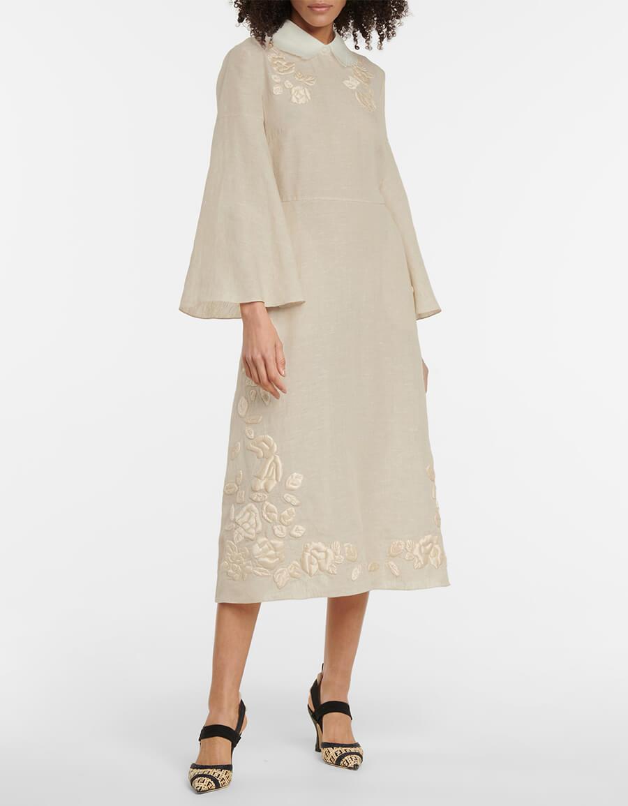 FENDI Embroidered linen and silk midi dress