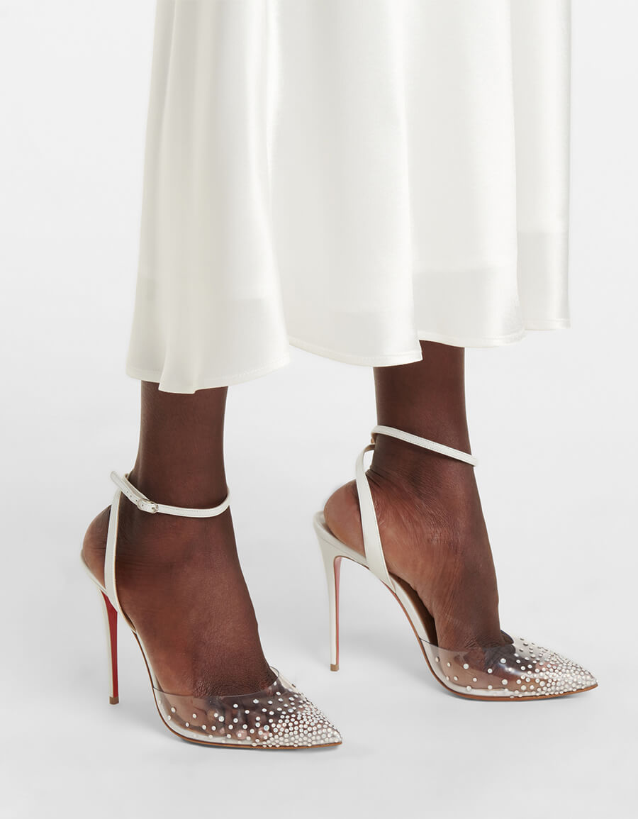 CHRISTIAN LOUBOUTIN Spikaqueen 100 embellished PVC pumps