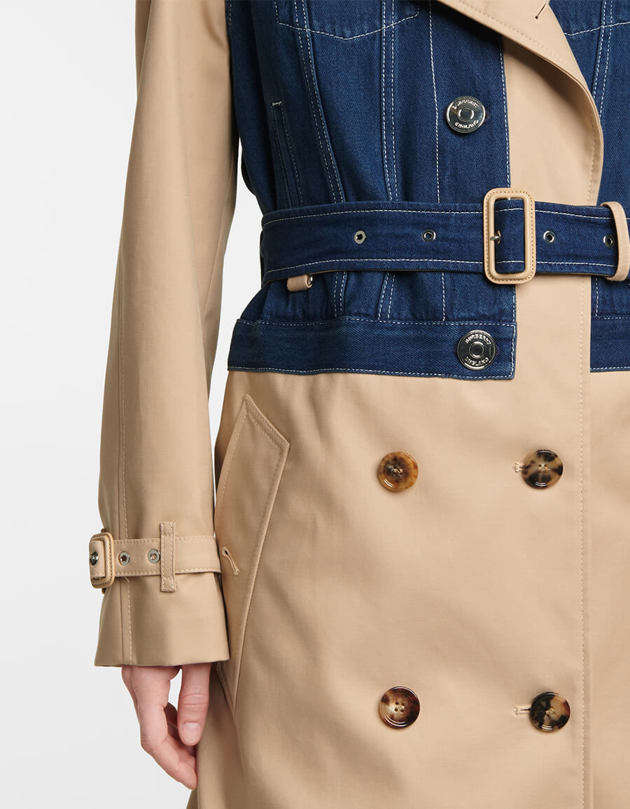 BURBERRY Denim and cotton gabardine trench coat