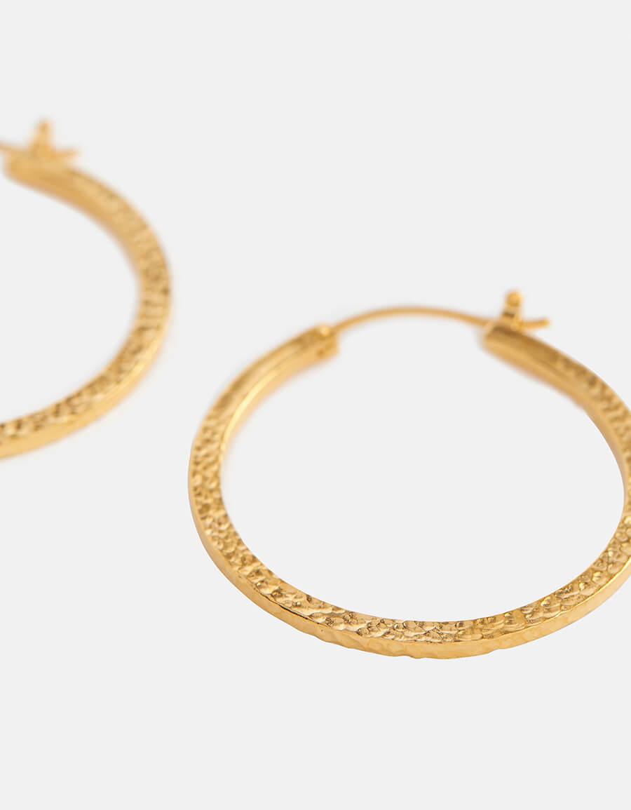 SAINT LAURENT Hammered brass hoop earrings