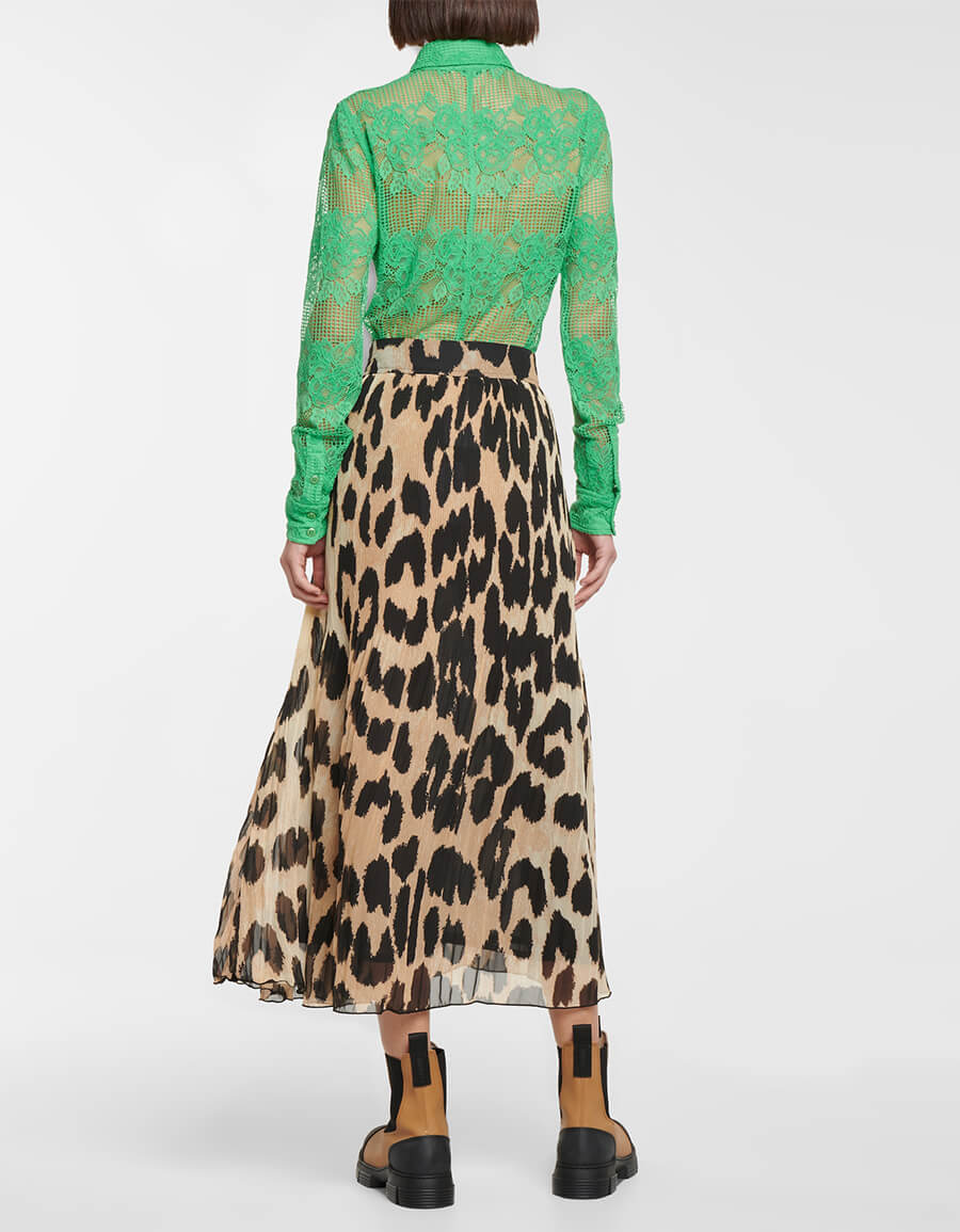GANNI Leopard print georgette midi skirt