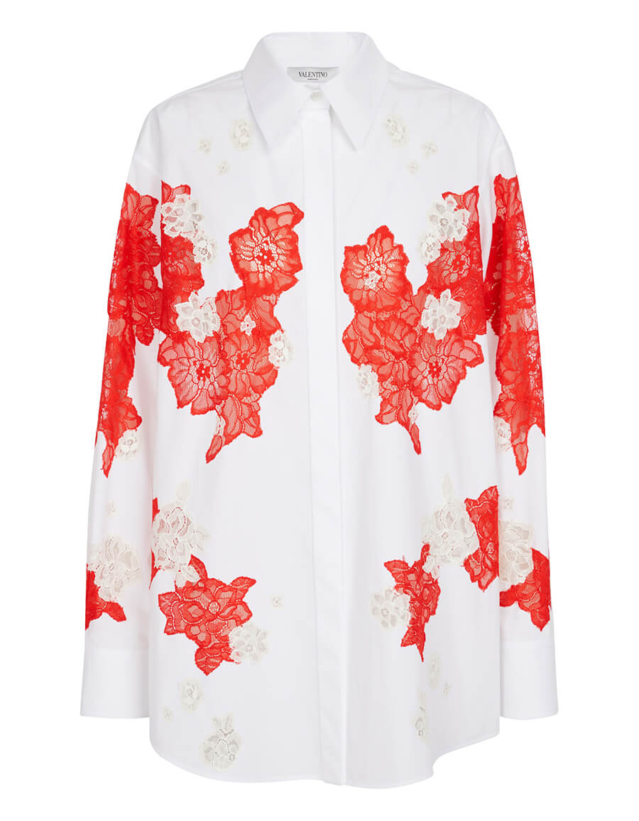 VALENTINO Lace trimmed cotton poplin shirt