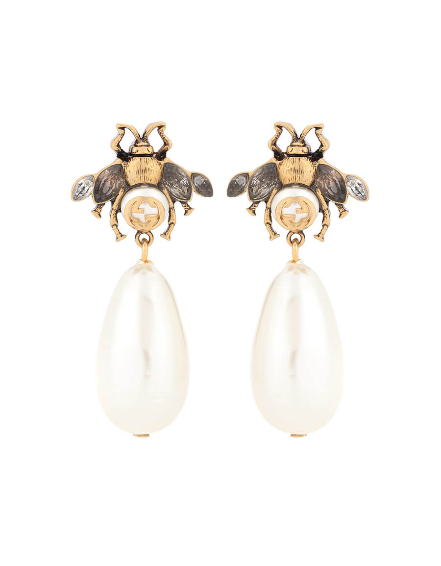 GUCCI Brass and crystal earrings