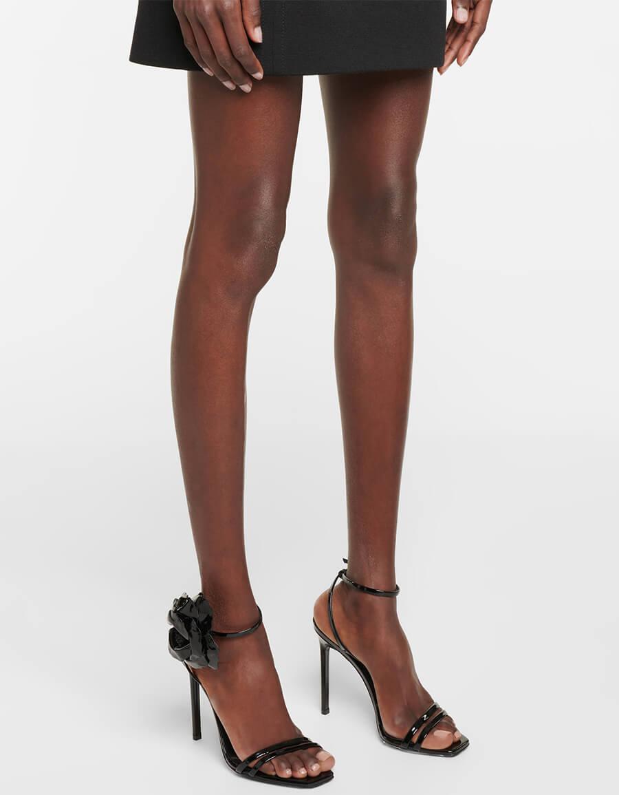 SAINT LAURENT Amber Flower patent leather sandals