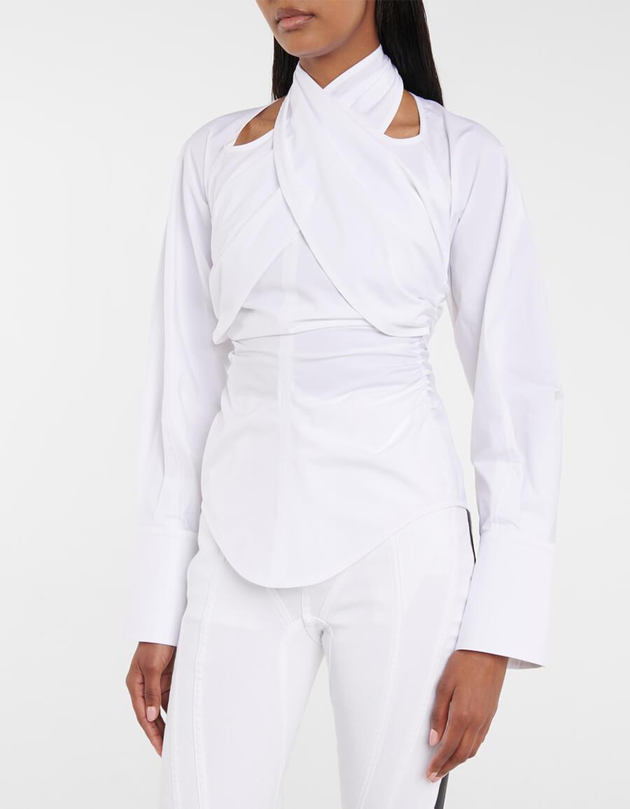 MUGLER High neck stretch cotton shirt