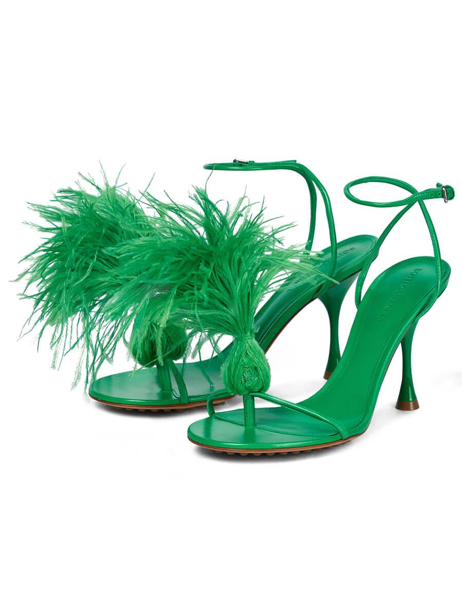 BOTTEGA VENETA Dot feather trimmed leather sandals