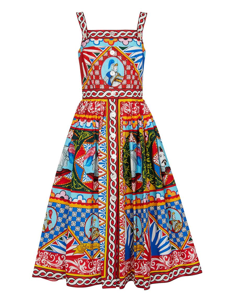 DOLCE & GABBANA Printed cotton midi dress