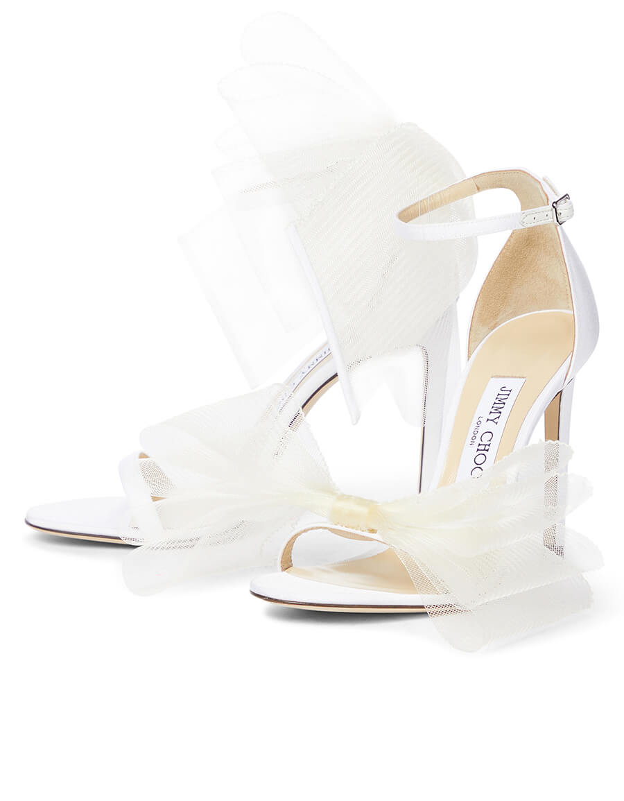 JIMMY CHOO Aveline 100 bow trimmed sandals