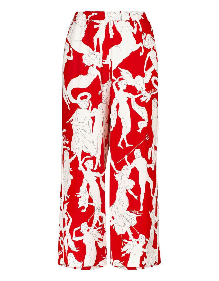 VALENTINO Printed stretch silk wide leg pants
