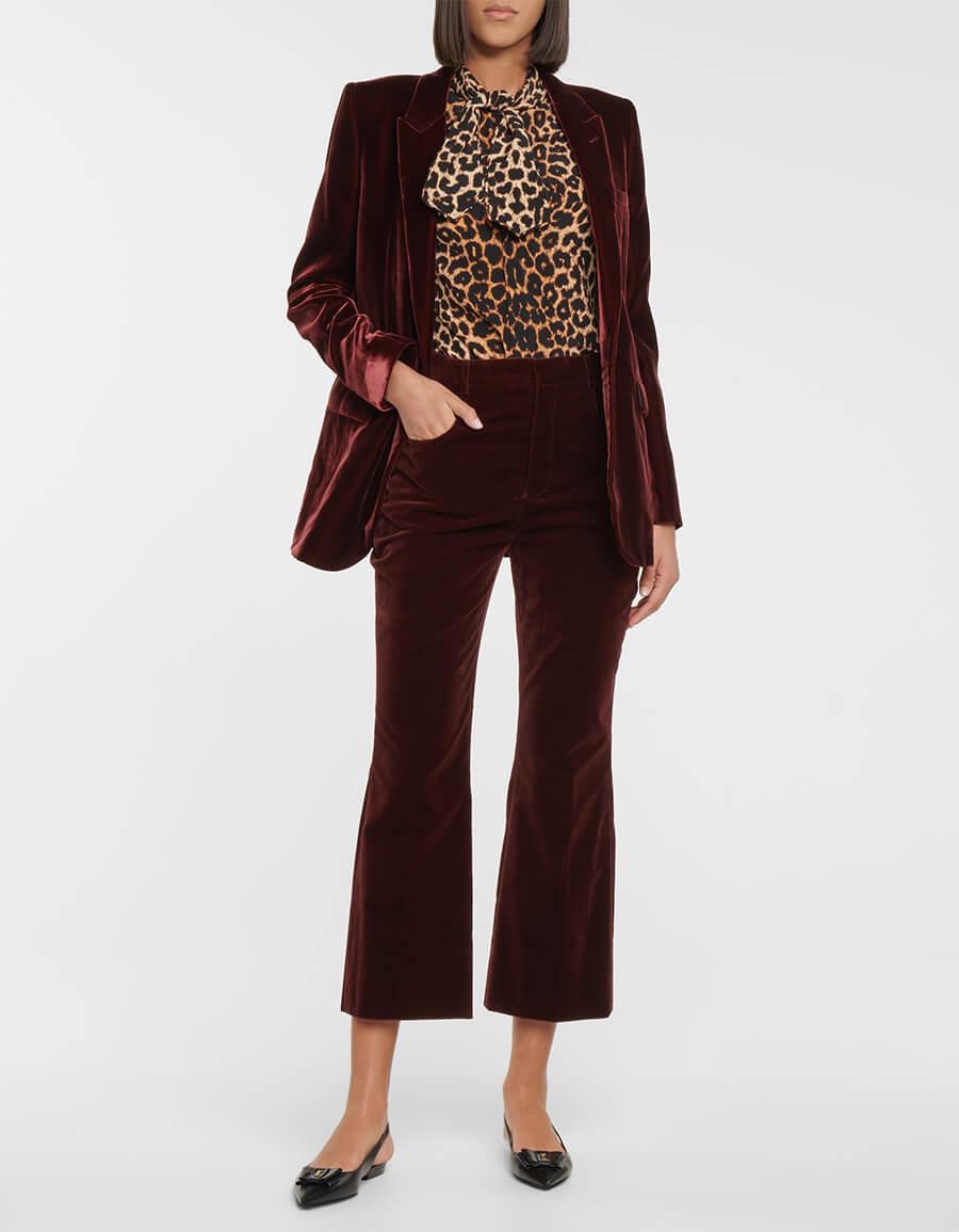 SAINT LAURENT High rise straight velvet pants
