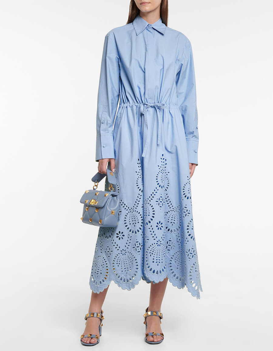 VALENTINO Broderie anglaise cotton midi dress