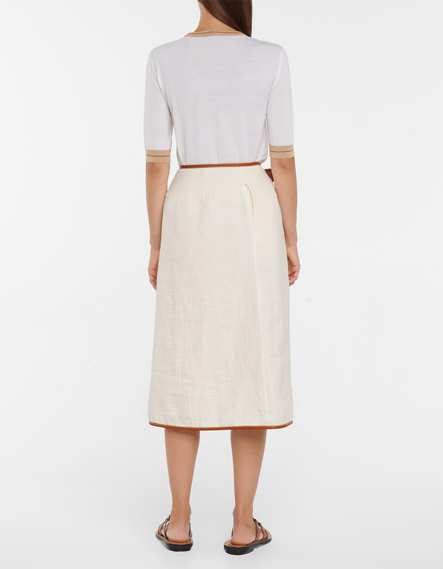 LOEWE Leather trimmed linen and cotton skirt