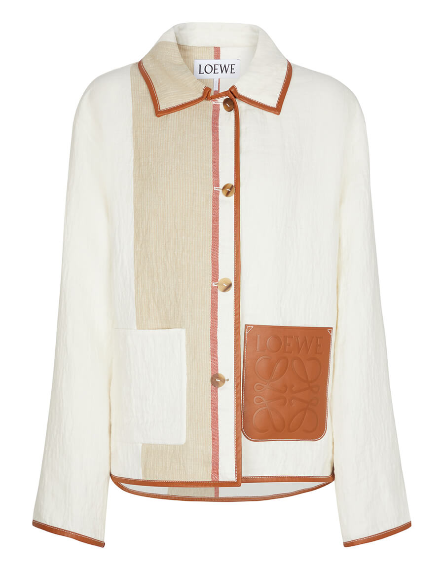 LOEWE Leather trimmed linen and cotton jacket