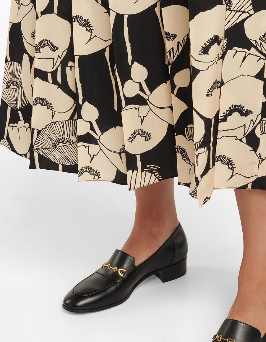 GUCCI Floral silk midi skirt