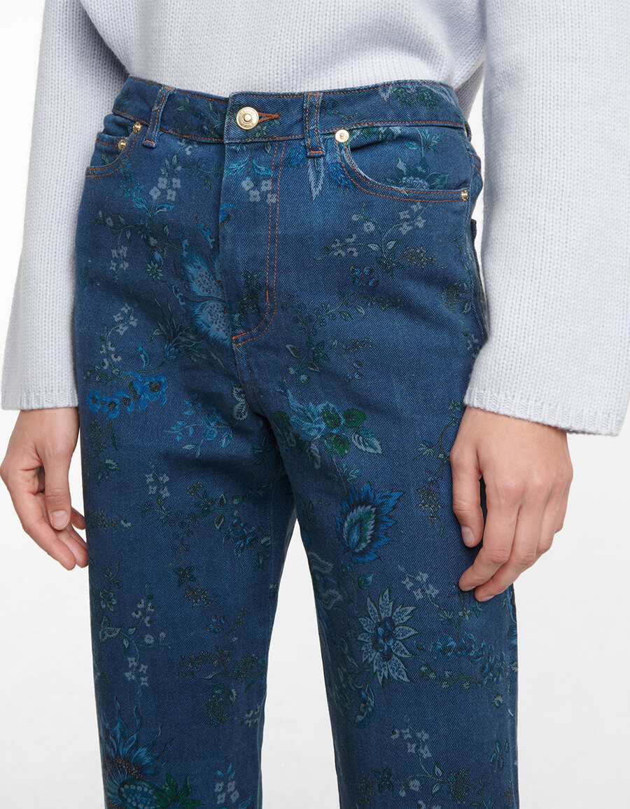 ERDEM Nathaniel floral high rise straight jeans