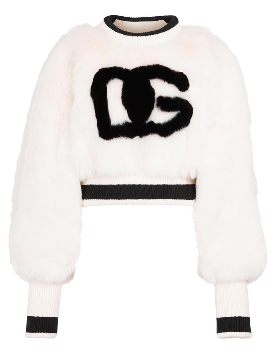 DOLCE & GABBANA Logo faux fur cropped sweatshirt