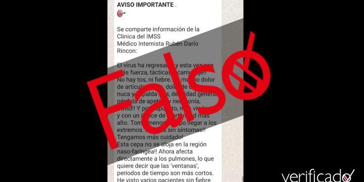 Falso Dr. Ruben Darío Imss COVID cepa