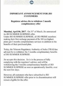 Jio withdraws Summer Surprise Offer after TRAI directive