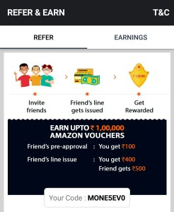 Moneytap Referral Code [MONE362WE] Earn Rs 500 Amazon Voucher