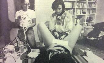 Photo shows Bonino performing an illegal abortion using a homemade device operated by a bicycle pump.
