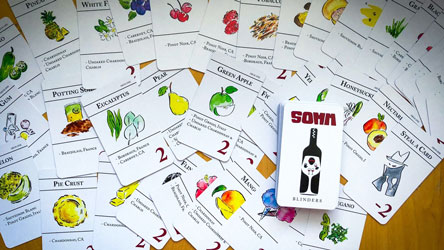 Image of the different types of cards in SOMM Blinders Game