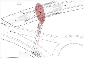 Schema Fermata Quaglia-Le Gru – Grugliasco e sottopasso di collegamento all'area commerciale