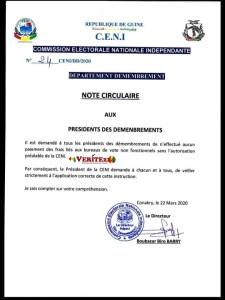 La note circulaire de la CENI qui prive les agents des bureaux de vote saccagés de leurs primes