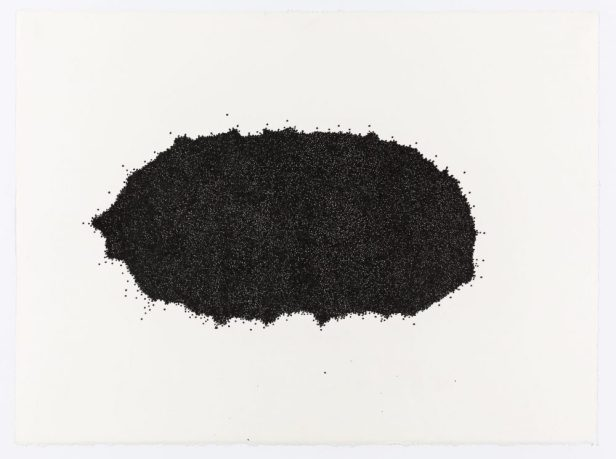 A black ink drawing of an irregular circle made up of numerous small spheres