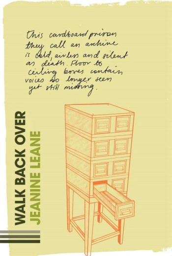 The cover of the book Walk Back Over, featuring wooden filing cabinet