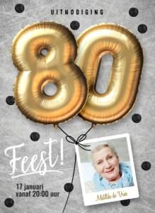 Kaart 80 jaar uitnodiging