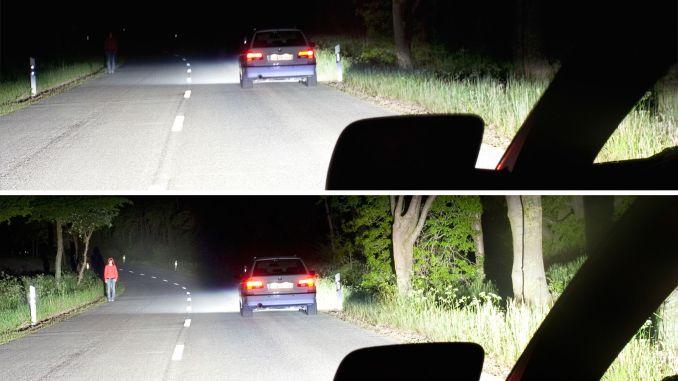 Intelligentes Fernlicht: Es taucht den Fußgänger am Fahrbahnrand in helles Licht, ohne den Fahrer des vorausfahrenden Autos zu blenden. - Foto: DVR