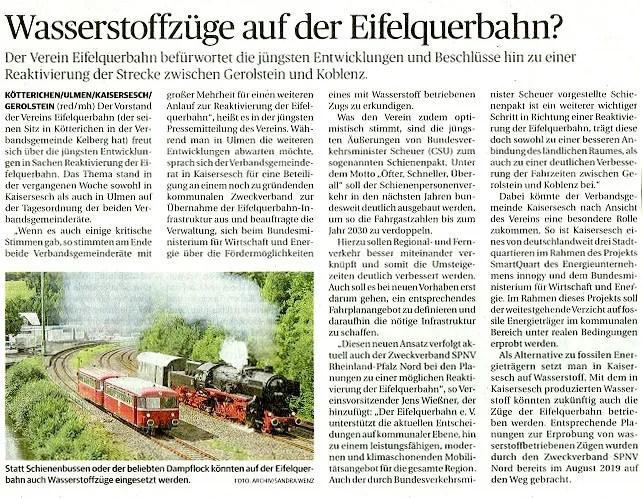 Wasserstoffzüge auf der Eifelquerbahn?
