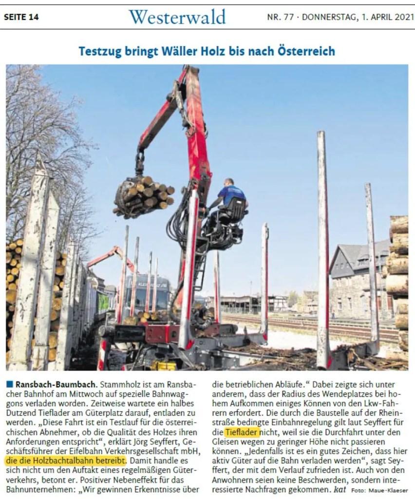 Testzug bringt Wäller Holz bis nach Österreich