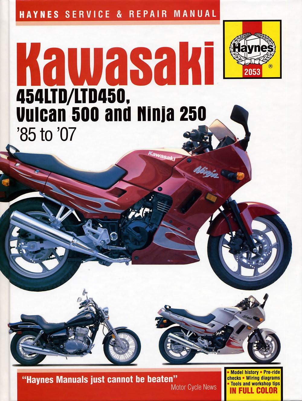 medium resolution of kawasaki 454ltd ltd450 vulcan 500 ninja 250 85 07 haynes repair manual haynes verkstadhanbokhaynes verkstadhanbok wiring diagram