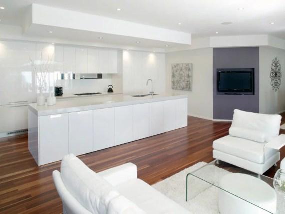 Moderne Open Keuken Kookeiland Verlaagd Plafond