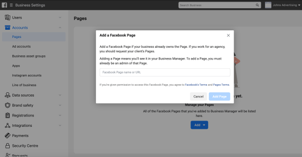 adding facebook page to facebook business manager account