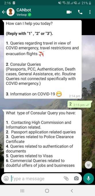 covid-19 bot : CANbot, whatsapp version